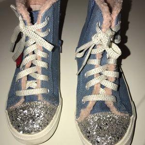Children's place zip up denim sneakers